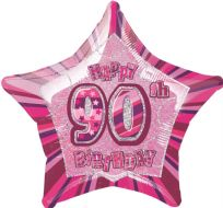 "Glitz 20"" Star Balloon Pink - Age 90"